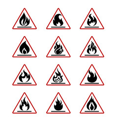 Danger fire icons with flame isolated on white vector