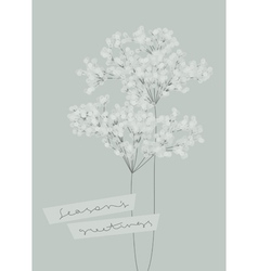 Snowy branches seasons greetings design vector