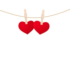 Hearts clothespins 02 vector
