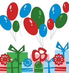 Party Card Gift Boxes and Balloons vector image