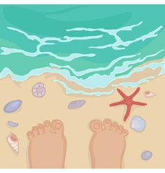 Feet of a man standing on the sea shore vector