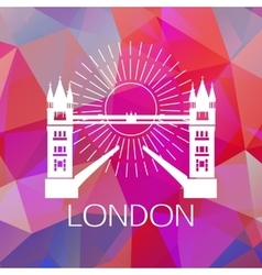 The tower bridge label or logo over geometric vector