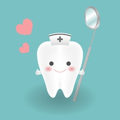Cute smiley white tooth who wears nurse hat feels vector