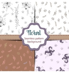 Set of Floral vintage seamless pattern collection vector image
