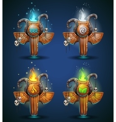Set shaman totems - symbols of the four elements vector