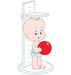 Small child measuring his height vector