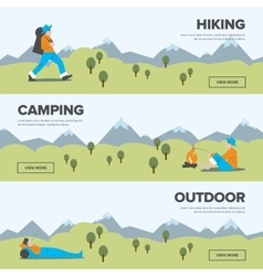 Hiking camping and outdoor leisure banners vector