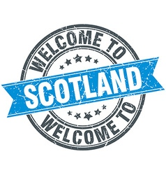 Welcome to scotland blue round vintage stamp vector