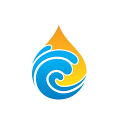 abstract wave waterdrop nature logo vector image