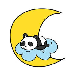 Baby panda sleeping on the cloud with the moon vector
