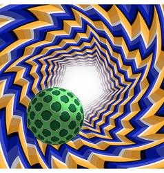 Ball flying to light through a pentagonal tunnel vector