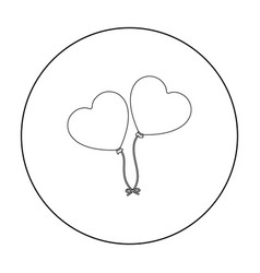Baloons icon in outline style isolated on white vector