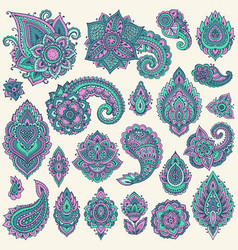 Big set of colorful henna floral elements vector