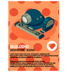 building color isometric poster vector image vector image
