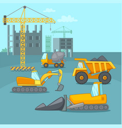 Building process concept trucks cartoon style vector