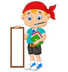 Cartoon boy holding board and books vector image