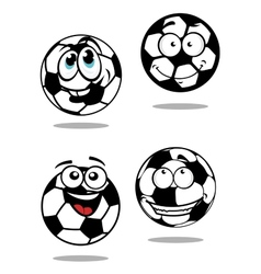 Cartoon soccer balls characters vector