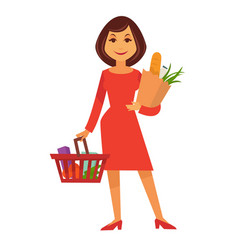 Cartoon woman stands with shopping basket and vector