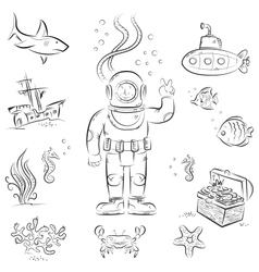Deep diving vector image vector image
