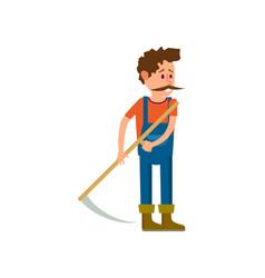 Farmer with scythe for grass isolated icon vector