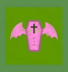 Flat shading style icon wings coffin vector