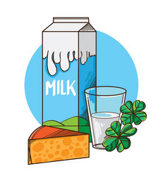 glass of milk with package and piece of cheese vector image