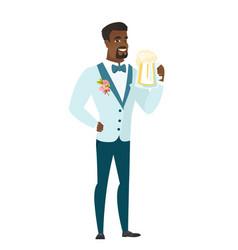 Groom drinking beer vector