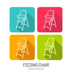 Line art baby feeding chair icon set in four color vector