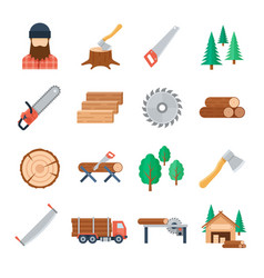 lumberjack icons set in flat style vector image vector image