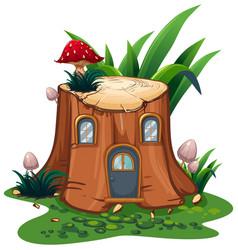 mushroom on stump tree in garden vector image vector image