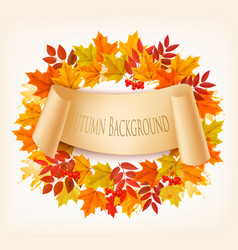 Nature autumn background with colorful leaves vector