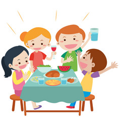 people having meal at dining table vector image