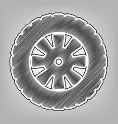 road tire sign pencil sketch imitation vector image vector image