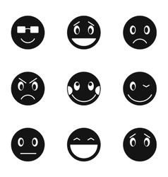 Round smileys icons set simple style vector image vector image