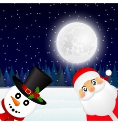 Santa claus and christmas snowman in forest vector
