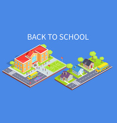 School area 3d and road to home vector