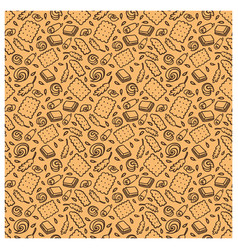 Seamless pattern of biscuit butter chocolate ears vector