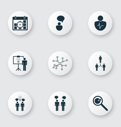 Set of 9 executive icons includes team meeting vector