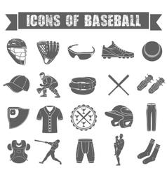 Set of icons of baseball vector