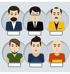 Set of stylish avatars man icons vector image vector image