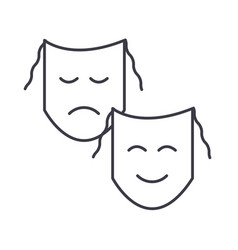 theatermasks show line icon sign vector image