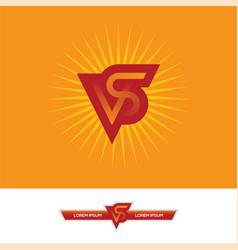 vs letters logo design in red and orange colors vector image