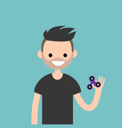 young character spinning a hand toy stress vector image