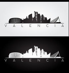 Valencia skyline and landmarks silhouette vector