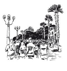 Hand drawn resort city vector