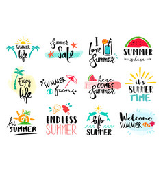 Summer quote set typography hand drawn decoration vector