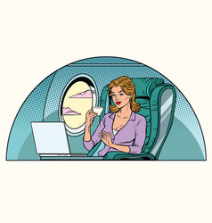 businesswoman in business class of the aircraft vector image