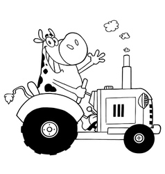 Cartoon cow on tractor vector image