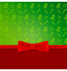 Christmas blank with christmas pattern and bow vector image