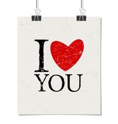 I love you vintage text design poster paper clips vector